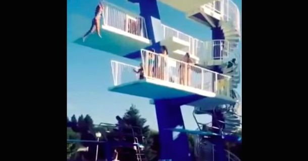 A Diving Board Is A Bad Place To Have Second Thoughts And This Video Proves Why